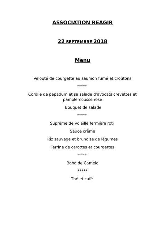 Menu ASSOCIATION REAGIR 2018-1